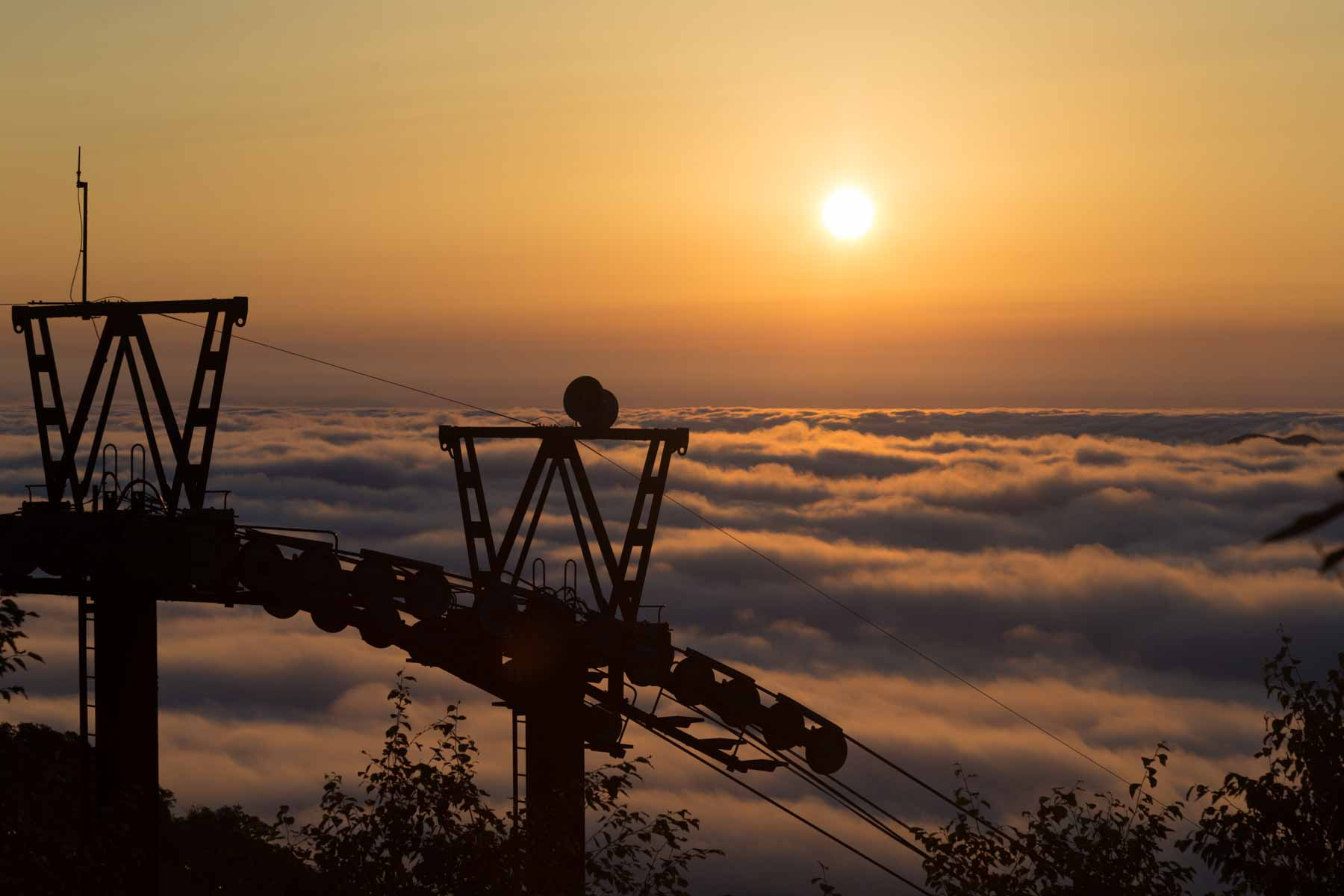 Hokkaido Ski Lift Morning Sunrise Above Clouds JapanWifiBuddy